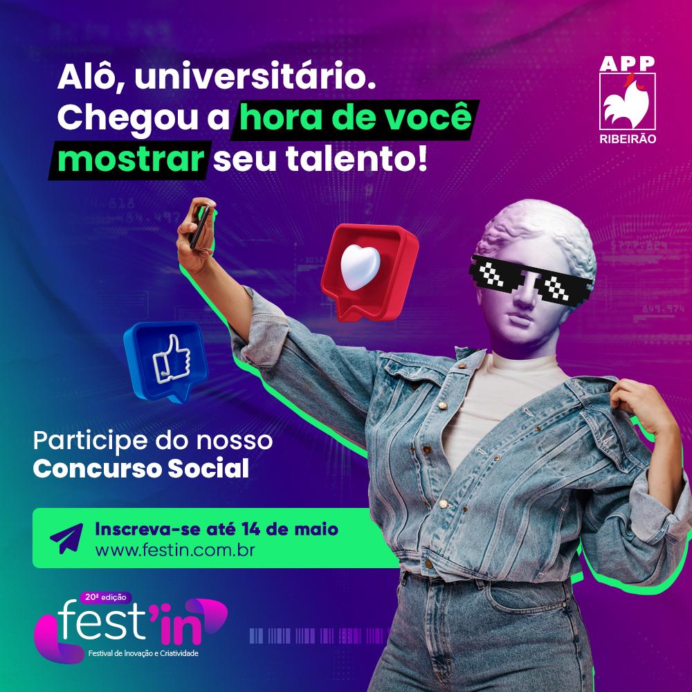 Últimos dias de inscrição para concurso social do Fest'in